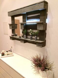 Pallet Bathroom Mirror Shelf - #DIY | 101 Pallets