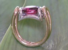 Bague Anna or blanc & rose & Rubellite