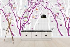 Hide and Seek - Purple - Wall Mural & Photo Wallpaper - Photowall