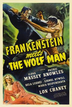 A great Frankenstein Meets the Wolf Man movie poster! Horror heavyweights Lon Chaney Jr and Bela Lugosi team up in this classic monster film. Need Poster Mounts. Old Movie Posters, Classic Movie Posters, Classic Horror Movies, Film Posters, Horror Vintage, Retro Horror, Man Movies, Scary Movies, Watch Movies