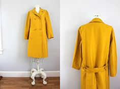 1950s mustard yellow pea coat / spring jacket / by revivalhouse, $112.00