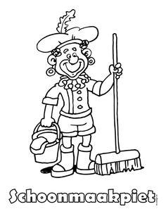 Kleurplaat Schoonmaakpiet - zwarte piet - Kleurplaten.nl Fictional Characters, School, Coloring, December, Nice, Disney, Fantasy Characters, Nice France