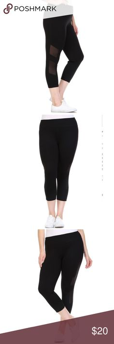 Black thick side mesh panel cutout leggings Great quality thick Black plus size yoga pant with designer mesh panel cut out.   Check out similar styles on my profile. Workout and look great too! Active wear.    Sizes 1X & 2X.   88% Polyester, 12% Spandex. Pants Leggings