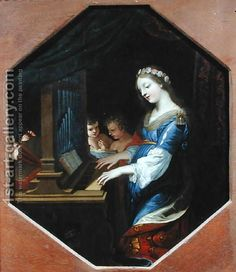 Cecilia Playing the Organ Painting by Jacques Stella Reproduction Patron Saint Of Music, Catholic Crafts, Most Famous Paintings, Photographs Of People, Instruments, Oil Painting Reproductions, Patron Saints, Renaissance Art, Cool Art
