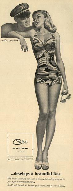 Cole of California swimsuit ad , 1950s