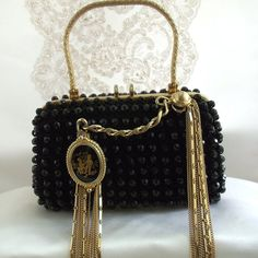 Formal Black Clutch, Beaded Evening Purse with Vintage gold chains and Renaissance Cameo, Haute Couture Evening Handbag. RESERVED/SOLD