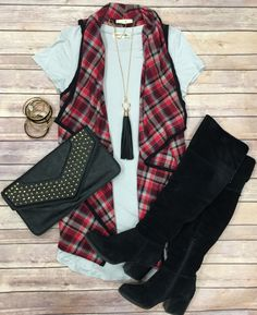 Playing in Plaid Vest: Burgundy