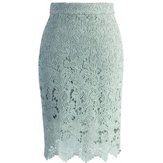 Chicwish Crochet of Rose Pencil Skirt in Mint ($47) ❤ liked on Polyvore featuring skirts, green, green chiffon skirt, chiffon skirt, green skirt, crochet skirt and flower print skirt