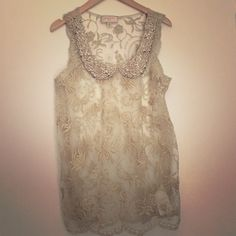 Anthropologie Moulinette Soeurs Embroidered Top Gorgeous gold and ivory top embroidered with rhinestones, pearls and sequins. Scalloped bottom. Please not this does not come with an camisole underneath. Only worn a couple times! Anthropologie Tops
