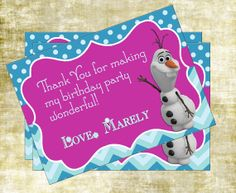 Disney's Frozen Girl Birthday Party Thank You Card One-sided (Custom Printable Digital File)
