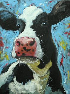 Cow painting 1024 18x24 inch animal original oil by RozArt on Etsy