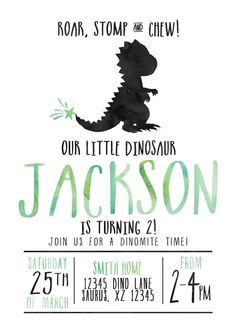 Dinosaur Party Invitation- Perfect for a birthday party! -------WHAT YOU GET------- DIGITAL FILES 2 JPEG Files: Invite + Triangle Back WANT IT PRINTED? Please add this listing to your cart in addition to the listing design