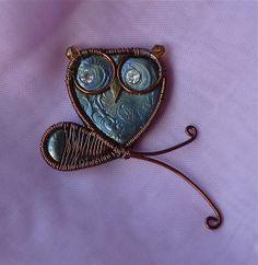 Mixed Media Owl Pin Blue & Brown