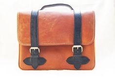 Retro Brown Bag with Black Strap Genuine by CoruscateLeatherBag, $185.00