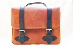 Retro Brown Bag with Black Strap Genuine by CoruscateLeatherBag, $185.00