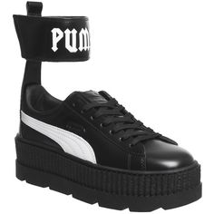 Puma Fenty Ankle Strap Sneaker Black White (€170) ❤ liked on Polyvore featuring shoes, sneakers, black and white trainers, black and white ankle strap shoes, puma sneakers, black and white shoes and puma footwear