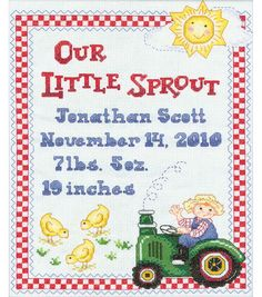 "Bucilla On The Farm Birth Record Counted Cross Stitch Kit-9""X12"" 14 Count..want to do for one of Nieces."