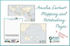 Amelia Earhart free printable mapping and notebooking pages-s