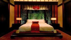 Asian-style-red-and-black-bedroom