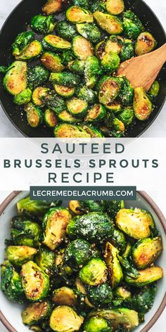 The BEST quick and easy Sauteed Brussels Sprouts recipe with garlic and parmesan. These tender Brussels sprouts are delicious plain, or a balsamic drizzle. Sauteed Brussels Sprouts Recipe, Healthy Brussel Sprout Recipes, Healthy Recipes, Veggie Recipes, Vegetarian Recipes, Cooking Recipes, Recipe For Cooking Brussel Sprouts, Brussel Spouts Recipes, Best Brussel Sprout Recipe