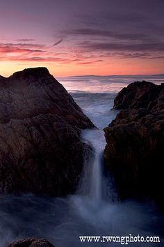 17 Mile Drive Beach Waterfall Seascape, Pacific Grove, California