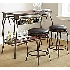 image of Steve Silver Co. Greensboro 3-Piece Counter Height Bar Set in Oak