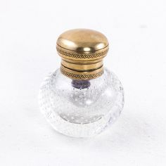 """Nineteenth century crystal inkwell with bronze lid and original insert. 3.5"""" H X 3"""" Diameter"""