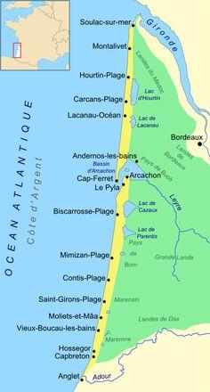 Côte d'Argent – Wikipedia - Frauen Haar Modelle Spain Travel, France Travel, Beach House Style, Lacanau Ocean, French Trip, Road Trip France, Cap Ferret, Roadtrip, Camping Life