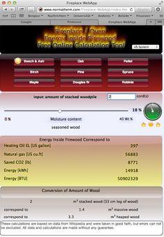 kostenloses online Tool, Berechnung der Energiemenge in verschiedenen Holzsorten bei unterschiedlichen Feuchtegehalten