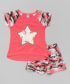 Love this Coral Camo Star Tee & Shorts - Toddler & Girls on #zulily! #zulilyfinds