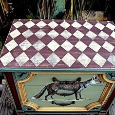 a whimsical foxy woodland side table, painted furniture, Distressed Harlequin Top