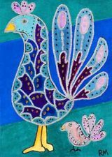 NFAC PRINT ACEO exotic birds baby bird turquoise fantasy playful Ron Masa