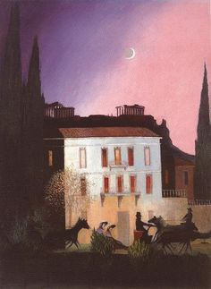 'Coaching in Athens at New Moon' - Tivadar Kosztka Csontvary, 1904 Illustrations, Illustration Art, Kitsch, Post Impressionism, Art Database, New Moon, Figure Painting, Athens, Art History