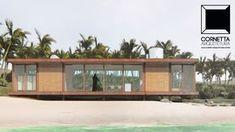 Projeto para casa de praia industrializada em aço corten e madeira tratada.