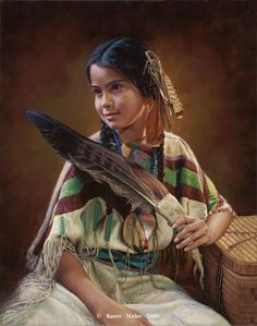 """""""The Feather Fan""""20"""" x 16"""" Oil on Linen -Western and Native American Fine Art by Karen Noles"""