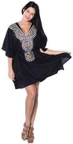 1307c539f8027 La Leela Rayon Designer Embroidered Tunic Bikini Women Swimsuit Cover up  Black Black Kimono, Clothing