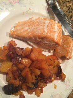 Salmon, butternut squash and bacon: 12/22/14