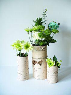 Rustic Wedding Centerpiece Vase Birch Bark by jadenrainspired