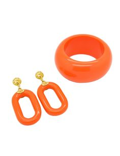 orange theremoset bracelet and earring sets | ... Products > Kenneth Jay Lane Vintage Orange Bracelet and Earring Set