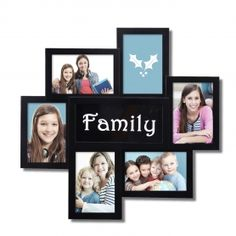 """Adeco Decorative Black Plastic """"Family"""" Wall Hanging Collage Picture Photo Frame, 6 Openings, 4x6"""""""