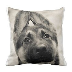 Cute German Shepherd Puppy Throw Pillow Cover Home Cushion Case Decorative Animal Pattern for Sofa 18 X 18 Inch Two Sides