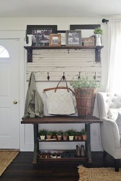 FAUX garden rustic entryway - potting bench style. A great way to spice up a small entryway when there is not really an entryway available