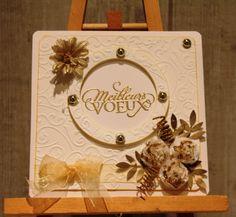 Meilleurs voeux 2014 blanc et or Carte double dimension 14cm x 14 cm
