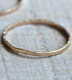 Delicate 14K Gold Hammered Ring