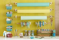 Turn kitchen utensils into crafts storage. I love the wooden spoon idea. I have several hanging around and they are cheap