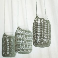 Mason jars made pretty with crochet and lace...