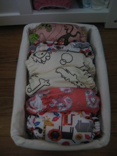 Storage idea for our reusable diapers.