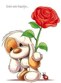Puppy met grote rode roos- Greetz