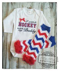 I Watch Hockey with my Daddy NHL Hockey Baby by MikMakBowtique