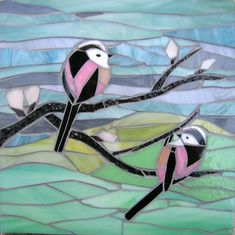 Two Long-Tailed Tits Mosaic  Blank Greetings Card by LAMosaicGifts